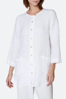 Photo of Waffle Linen Round Neck Shirt