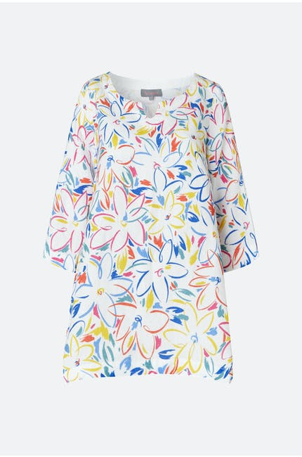 Forties Floral Print Linen Tunic