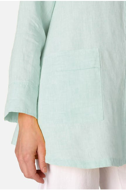 Chambray Linen Flared Shirt