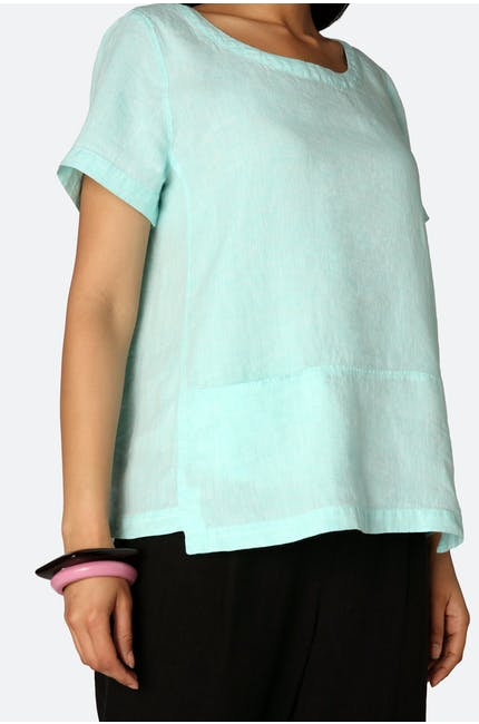 Photo of Chambray Linen Step Hem Top