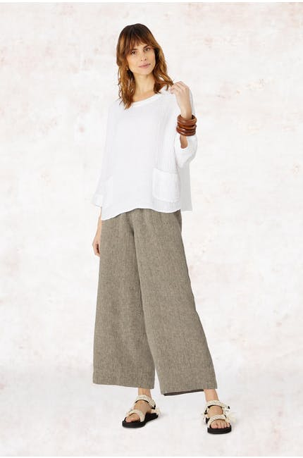 Waffle Linen Relaxed Top