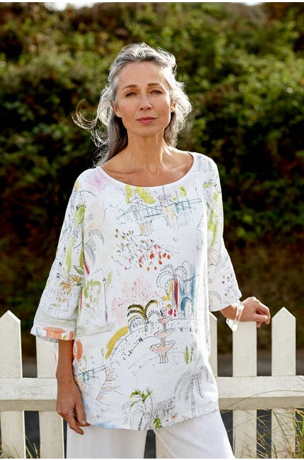 Photo of Linen Riviera Print Boxy Top
