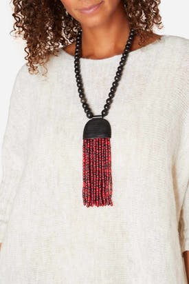 Photo of Horn Pendant Tassel Necklace