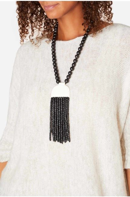 Horn Pendant Tassel Necklace