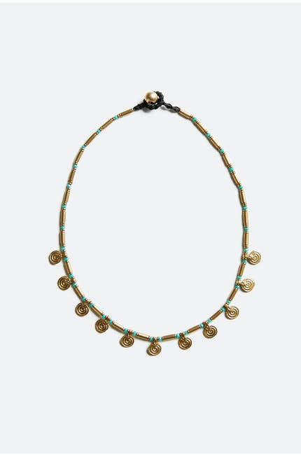 Turquoise Detail Coin Necklace