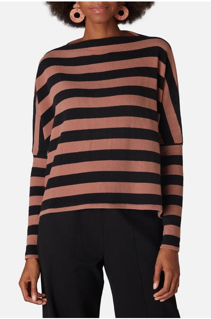 Photo of Stripe Slash Neck Top
