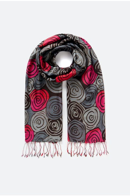 Abstract Swirl Silk Scarf