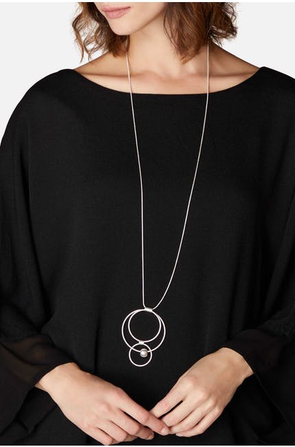 Triple Hoop & Sphere Necklace