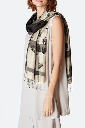 Photo of Sparrow Print Silk Scarf