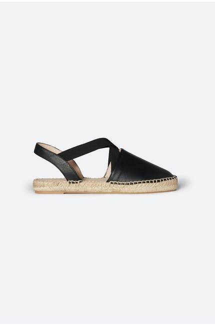 Cross Strap Leather Espadrille