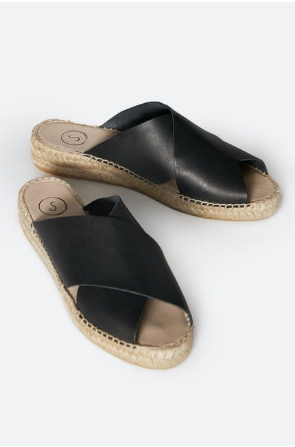 Leather Cross Over Slide Sandals