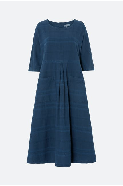 Denim Textured Stripe Dress