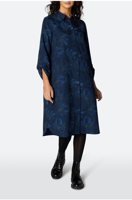 Japanese Flower Shirt Dress