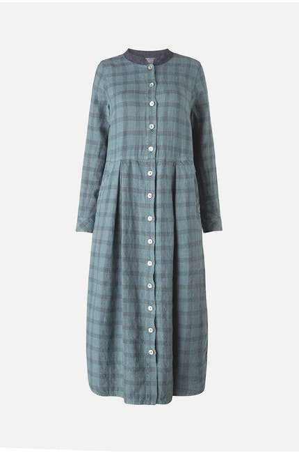 Wide Check Linen Dress