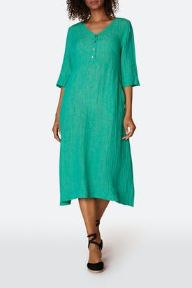 Photo of Crinkle Linen V Neck Dress