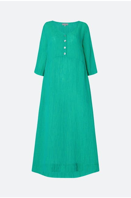 Crinkle Linen V Neck Dress