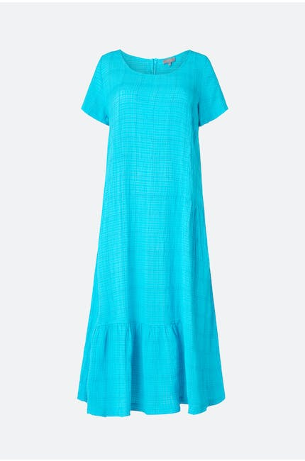 Voile Check Flared Dress