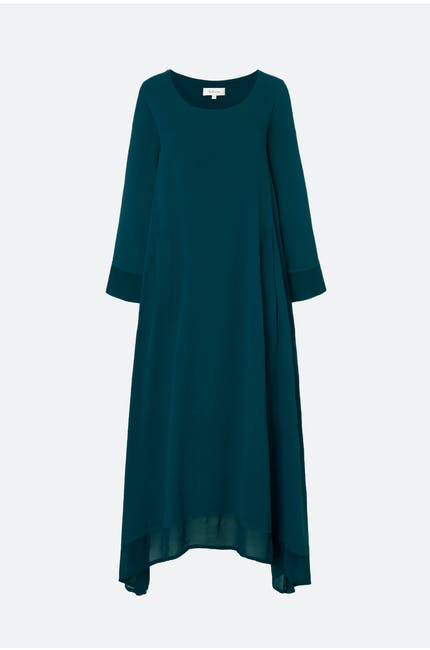 Autumn Crepe Drape Dress