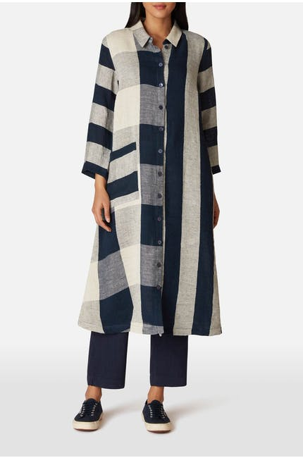 Stripe & Check Linen Dress