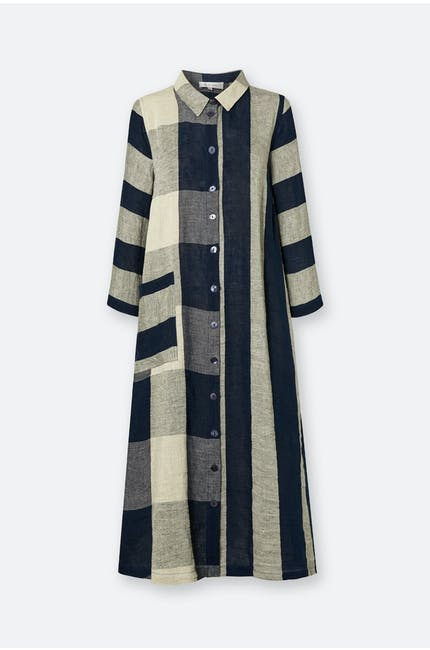 Photo of Stripe & Check Linen Dress