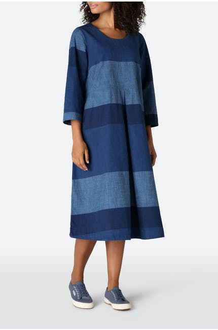 Indigo Block Stripe Dress