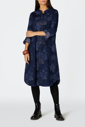 Photo of Floral Shimmer Cotton Denim Dress