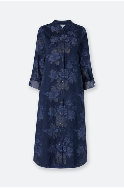Floral Shimmer Cotton Denim Dress