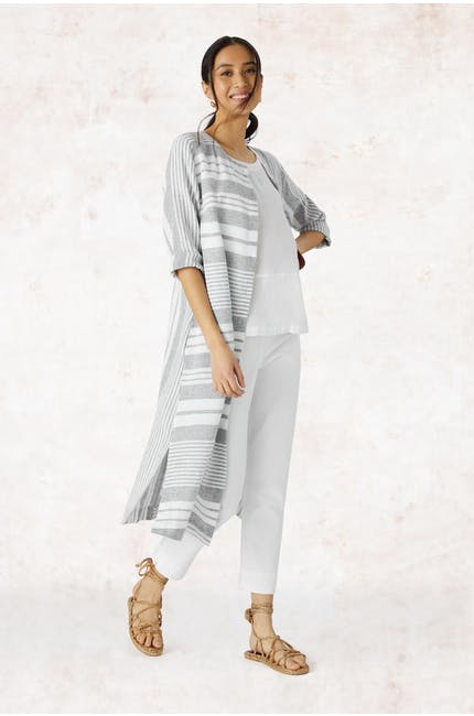Photo of Mix Stripe Linen Shirt Dress
