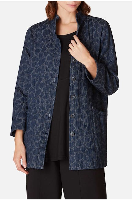 Heart Jacquard Denim Jacket