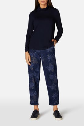 Photo of Floral Shimmer Cotton Denim Trouser