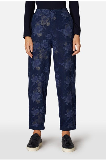 Floral Metallic Denim Trouser