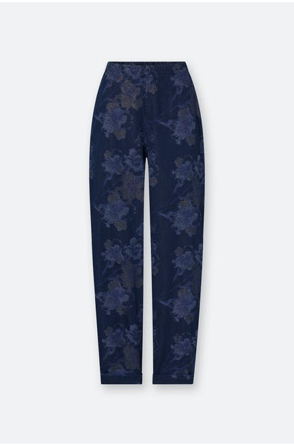 Photo of Floral Metallic Denim Trouser
