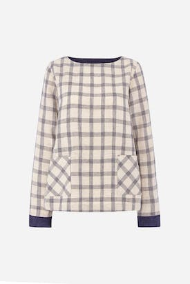Photo of Wide Check Linen Top