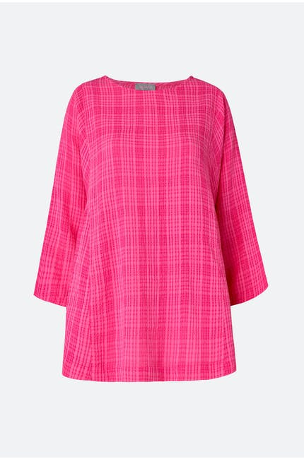 Voile Check Seam Detail Top