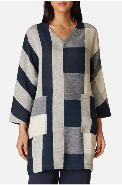 Stripe & Check Linen Tunic