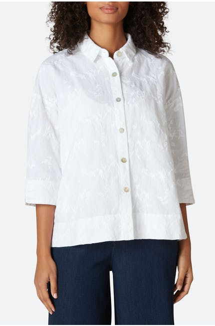 Photo of Floral Embroidery Boxy Shirt