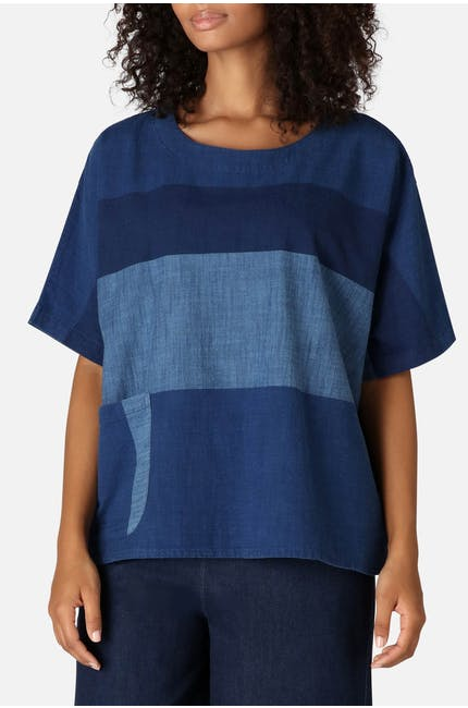 Indigo Block Stripe Boxy Top