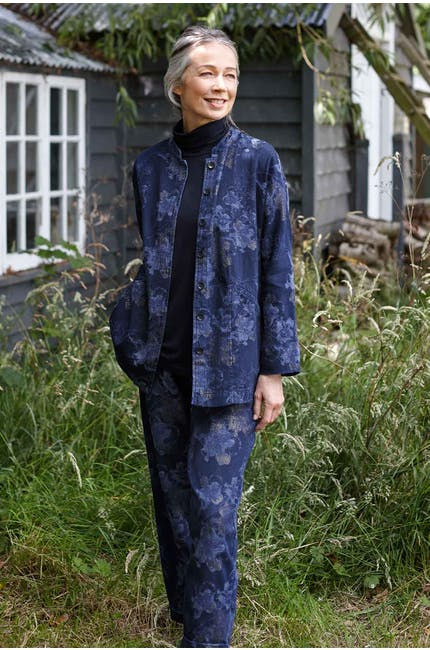 Photo of Floral Shimmer Cotton Denim Shirt