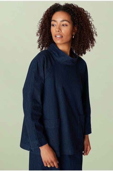 Stretch Denim Relaxed Top