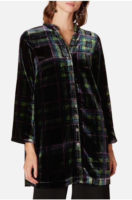 Photo of Tartan Velvet Nehru Shirt
