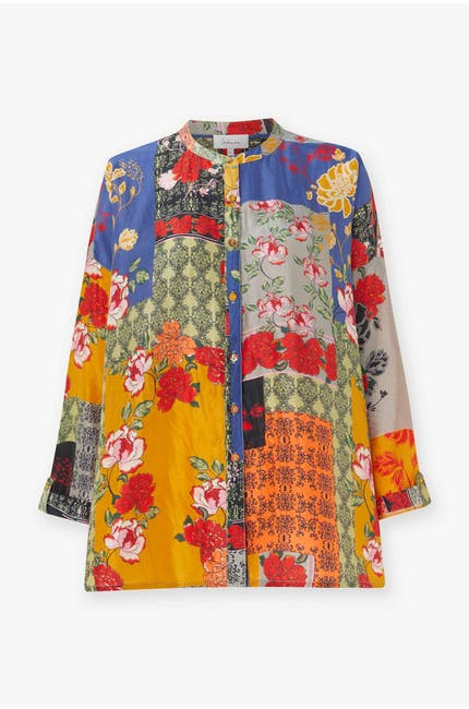 Patched Baroque Silk Shirt