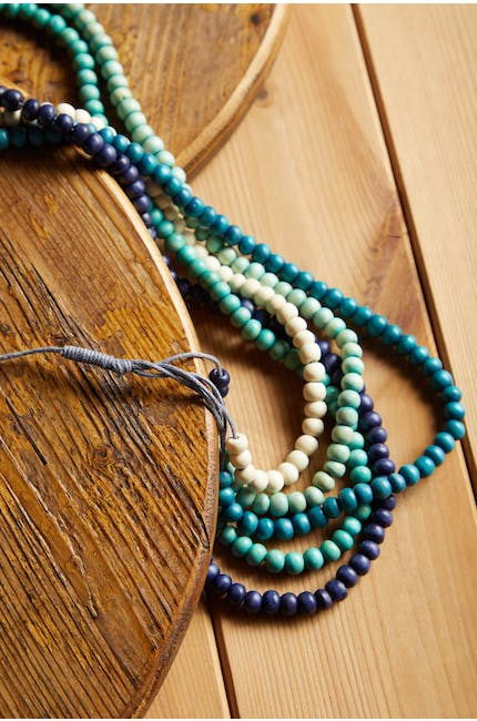 5 Strand Wooden Bead Necklace