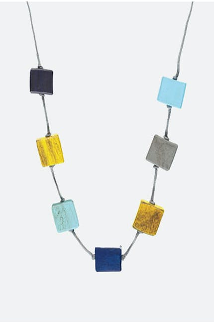 Photo of Long Wooden Cube Necklace