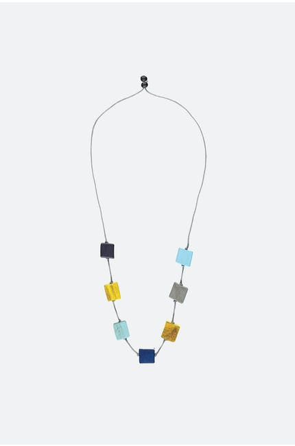 Long Wooden Cube Necklace