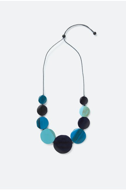 Graduated Wooden Disc Necklace
