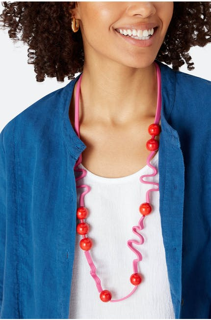 Squiggle And Glass Necklace