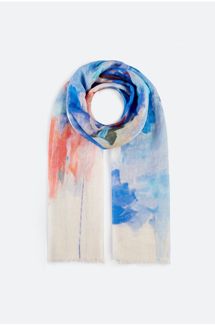 Photo of Linen Mix Floral Scarf