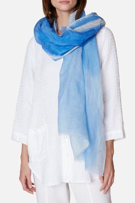 Photo of Blue Print Linen Mix Scarf