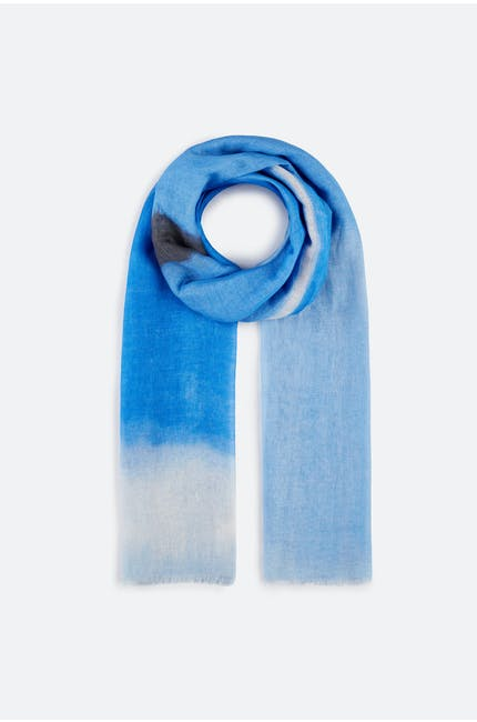 Blue Print Linen Mix Scarf