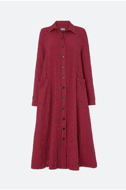 Photo of Crinkle Gingham Shirt Dress